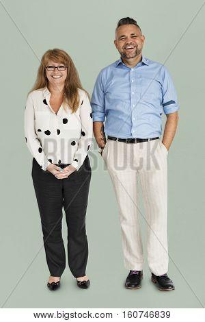 Couple Cheerful Studio Portrait Concept