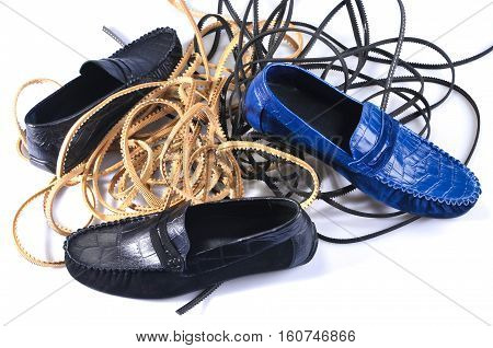 Men's leather loafers (moccasins) isolated on white background. Nice style handmade Shoes