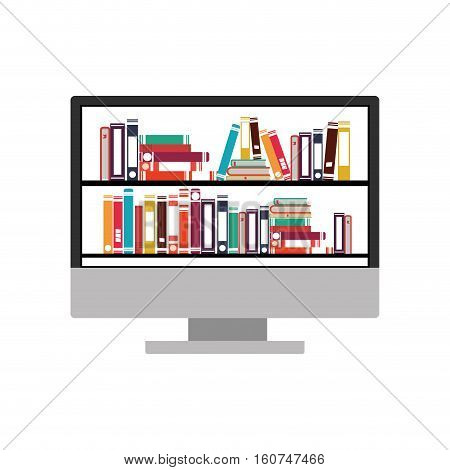 Ebook and computer icon. Download elearning reading and electronic theme. Isolated design. Vector illustration