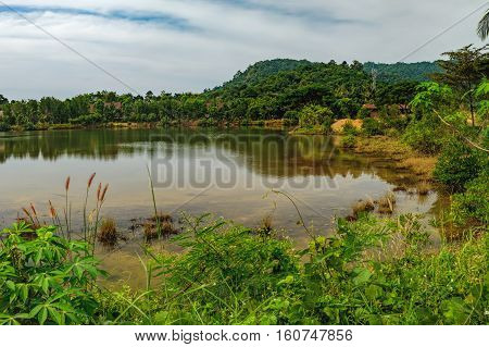Dense tropical vegetation under the blue sky Mu Koh Chang National Park, Chang island, Thailand. Mountains covered with various tropical trees and beautiful lake with reflection of nature in water.