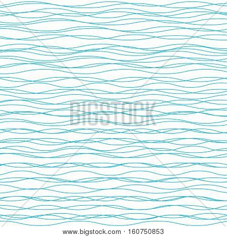 Wavy vector background. Abstract fashion pattern. Blue and white color. Light horizontal wave striped texture