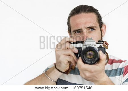 Man Holding Camera Photo Concept