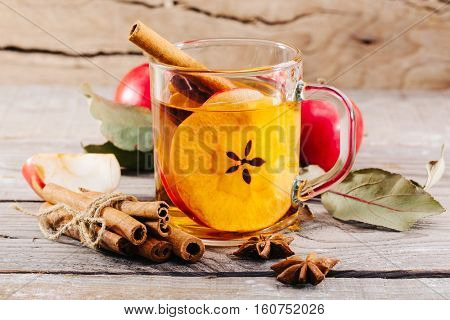 cup of hot apple cider with cinnamon, anise and orange on a white background