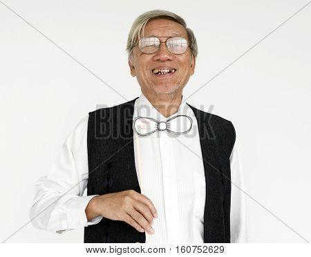 Happy Gentleman Standing Laughing Concept
