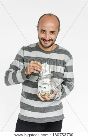 Man GIving Money Donation Charity Concept