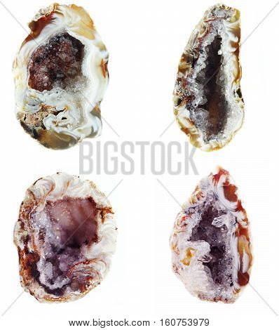 agate with chalcedony geological crystal isolated collage