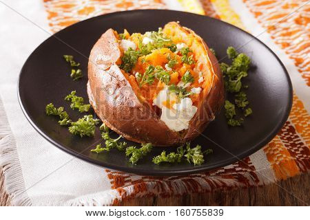 Great Food: Sweet Potatoes Baked With Cream Cheese, Butter And Parsley Close-up. Horizontal