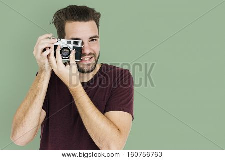 Man Smiling Happiness Camera Photography Portrait Concept
