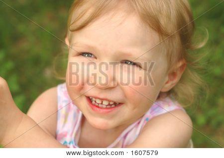Little Blonde Girl Outside