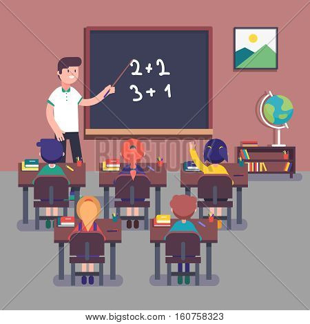 Kindergarten teacher teaching math to his small pupils. Kids learning mathematics. Smiling characters. Modern flat style color vector illustration.