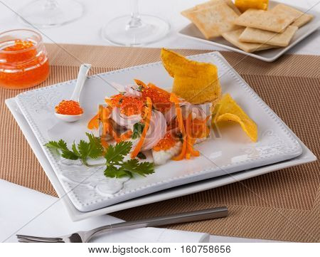 Ceviche typical dish from Central and South America topped with roe
