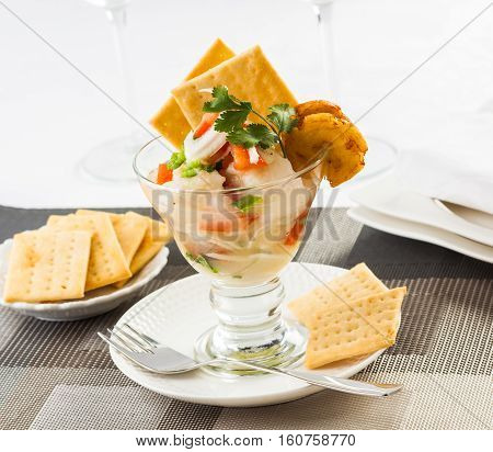 Fish ceviche typical dish from Central and South America