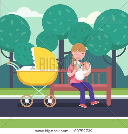 Mother holding swaddled baby in her loving hands and feeding him with bottle milk formula. Sitting on a park bench with stroller. Modern flat style vector illustration cartoon clipart.