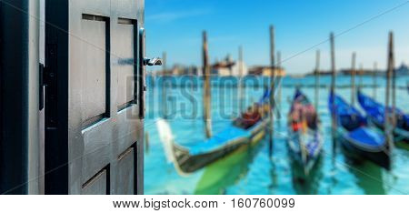 Opened Door Concept To Beautiful And Imaginary Venice Landscape
