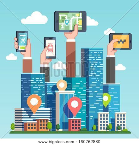City cloud computing technology transportation infrastructure. Urban area gps map navigation via smart devices, phones and tablets. Skyscrapers and hands holding tech. Flat style vector illustration.