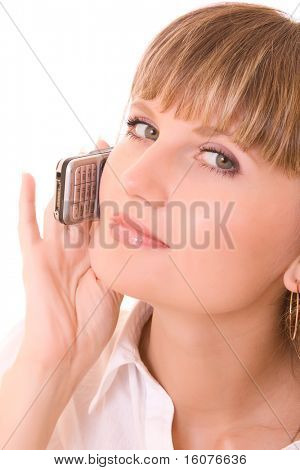 Young woman with scratched phone isolated