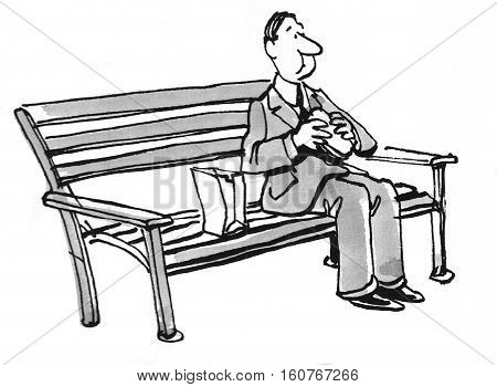 Black and white illustration of a businessman eating a brown bag lunch while sitting on a park bench.