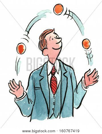 Color business illustration of a businessman juggling many balls at once.
