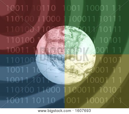 Globe Of Earth Four Colors Abstract