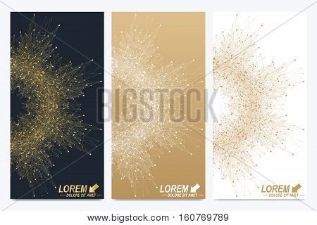 Modern set of vector flyers. Geometric abstract presentation. Molecule and communication background for medicine, science, technology, chemistry. Golden cybernetic dots. Lines plexus. Card surface.