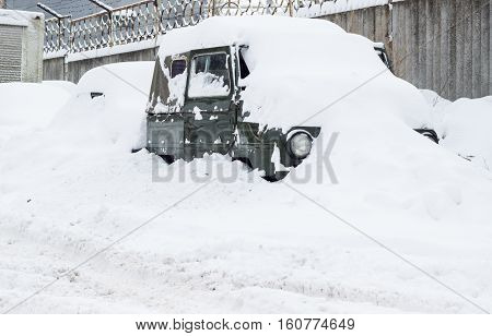 with the arrival of winter the snow begins to fall and everything is covered with a white cover and the machine does not exclusion