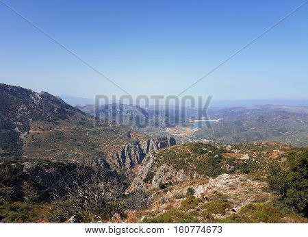 Beautiful mountain landscape. The expanses of Greece. Crete.
