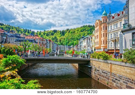 Bridge And Promenade In Karlovy Vary