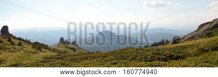 Carpathian mountains in Romania, panorama view landscape