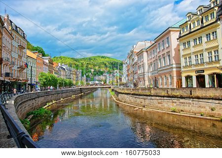 Embankment At The Tepla River At Karlovy Vary