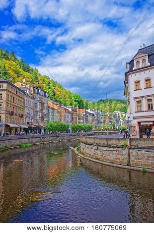Embankment Of Tepla River In Karlovy Vary