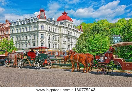 Horse Carriage In Karlovy Vary In Czech Republic