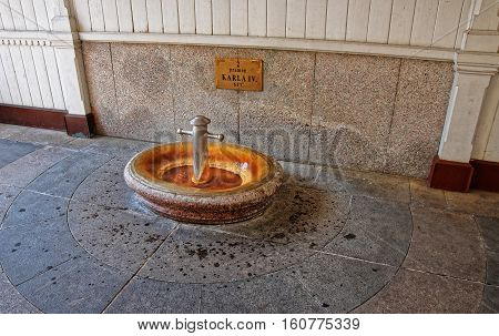 Hot Spring At Market Colonnade Of Karlovy Vary
