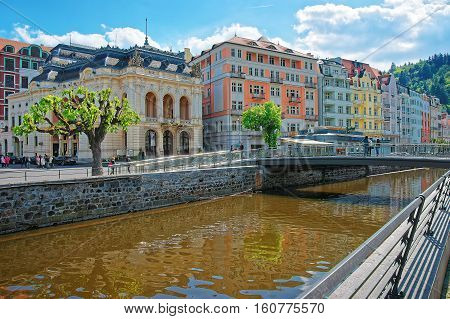 Opera House And Bridge Over Tepla River In Karlovy Vary
