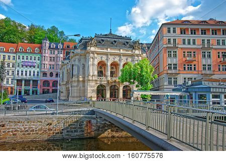 Opera House And Promenade In Karlovy Vary