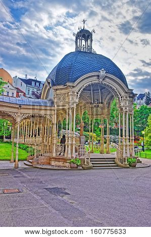 Park Colonnade With Wooden Arbor In Karlovy Vary