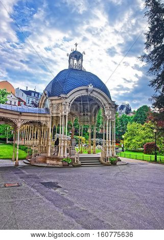 Park Colonnade With Wooden Arbor Of Karlovy Vary