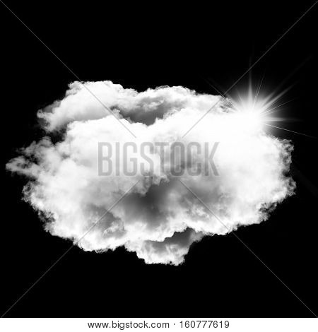 Single white round cloud with bright sun behind it isolated over black background 3D rendering illustration design elements
