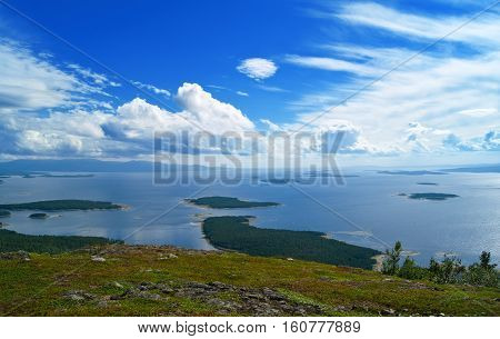 Beautiful wild seascape . View on a sea from a mountain.