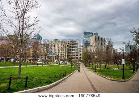 Boston Common Public Park In Downtown Boston