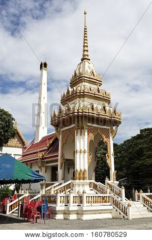 Detail of the crematorium at Wat Na Phra Men monastery complex in Ayutthaya Thailand
