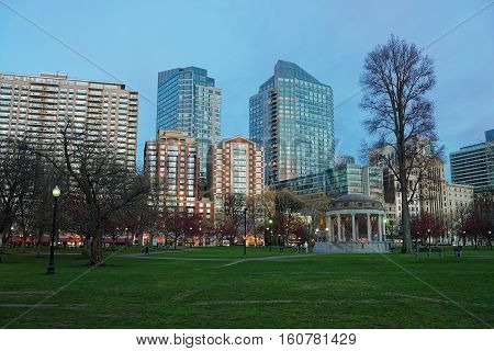 Skyline And Boston Common Public Park In The Evening