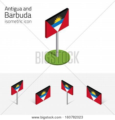 Flag of Antigua and Barbuda vector set of isometric flat icons 3D style different views. 100% editable design elements for banner website presentation infographic poster map. Eps 10