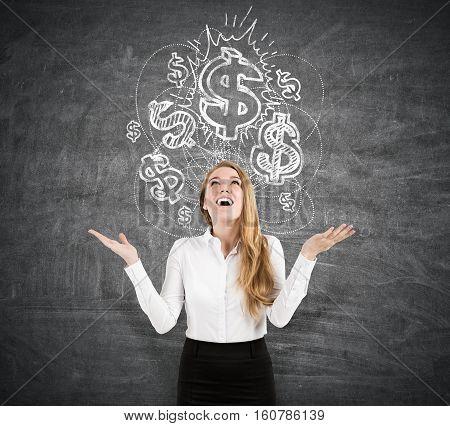 Happy Woman Near A Dollar Sketch On A Blackboard