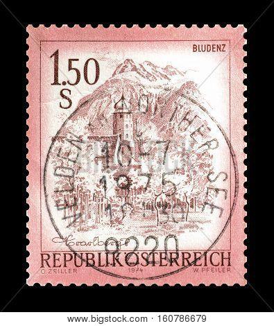 AUSTRIA - CIRCA 1974 : Cancelled stamp printed by Austria, that shows Bludenz.