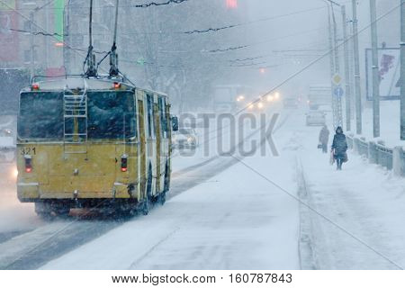 PETROZAVODSK, RUSSIA - DECEMBER 7TH, 2016: Bad weather in a city: a heavy snowfall and blizzard in the winter