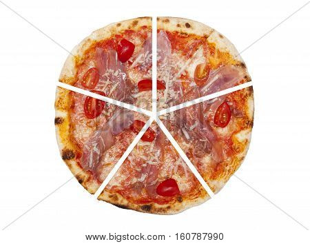 Five pieces of pizza isolated on the white background