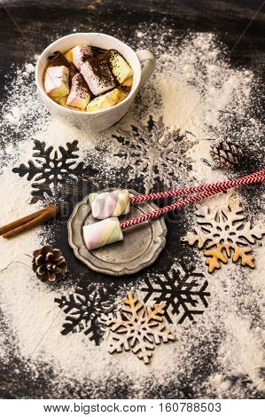 Christmas Or New Year Composition With Marshmallows
