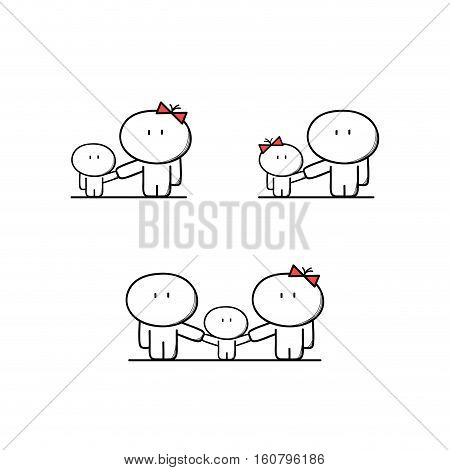 Cute single mother and father with a child, full family with a kid. Parents, mom and dad with boy and girl - cartoon vector illustration.