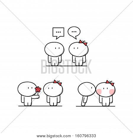 Cute man talks to the woman, boy gives a flower to the girl, boyfriend kisses girlfriend. Conversation, love and relationships - cartoon vector illustration.