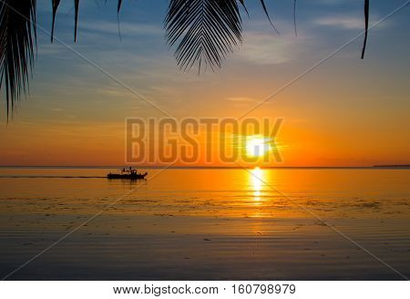 Seaside sunset with palm leaf silhouettes. Tropical sunset landscape with boat in water. Beautiful nature of tropical island. Sea view with sun reflection in water. Orange sunset wanderlust photo